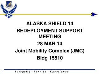 ALASKA SHIELD 14 REDEPLOYMENT SUPPORT MEETING 28 MAR 14 Joint Mobility Complex (JMC) Bldg  15510