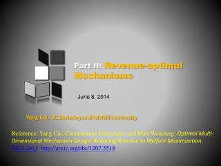 Part II: Revenue-optimal Mechanisms