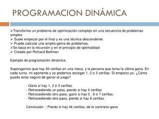 PROGRAMACION DINÁMICA