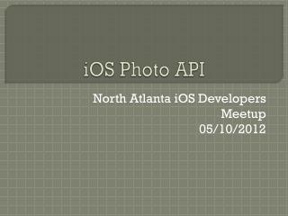 iOS Photo API