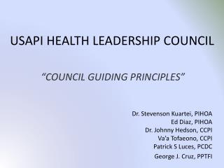 USAPI HEALTH LEADERSHIP COUNCIL
