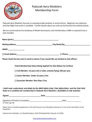 Paducah Aero  Modelers Membership Form