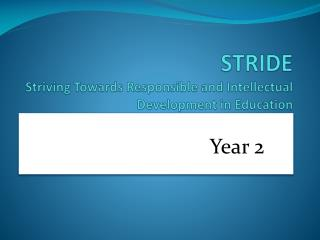 STRIDE Striving Towards Responsible and Intellectual Development in Education