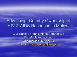 Advancing  Country Ownership of HIV & AIDS Response in Malawi