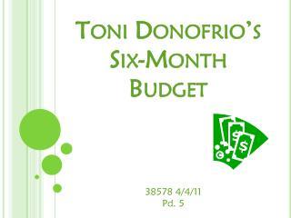 Toni  Donofrio's  Six-Month Budget