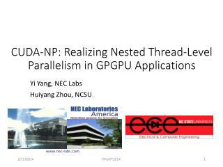 CUDA-NP: Realizing Nested Thread-Level Parallelism in GPGPU Applications