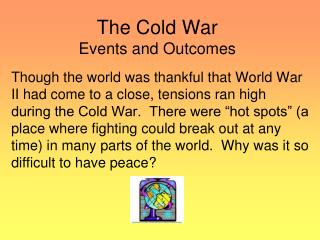 The Cold War Events and Outcomes