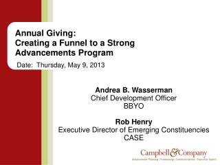 Annual  Giving:   Creating  a Funnel to a  Strong  Advancements Program