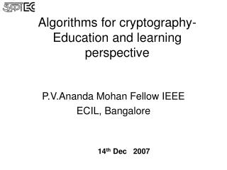 Algorithms for cryptography- Education and learning perspective