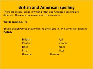 British and American spelling