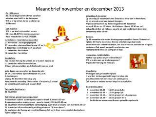 Maandbrief november en december 2013
