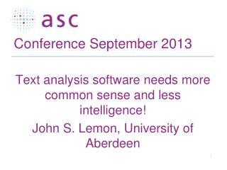 Conference September 2013