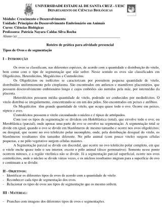 UNIVERSIDADE ESTADUAL DE SANTA CRUZ - UESC Departamento de Ciências Biológicas