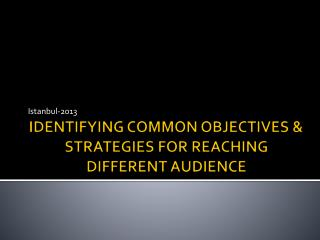IDENTIFYING COMMON OBJECTIVES & STRATEGIES FOR REACHING DIFFERENT AUDIENCE