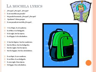 La  mochila  lyrics