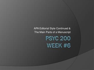 PSYC 200 Week #6