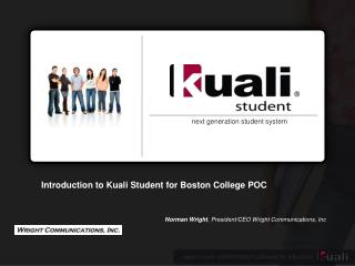 Introduction to  Kuali  Student for Boston College POC