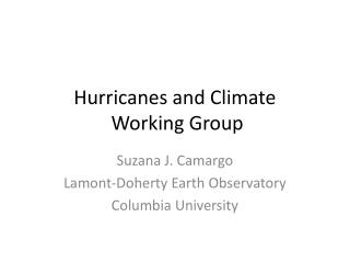 Hurricanes and Climate  Working Group