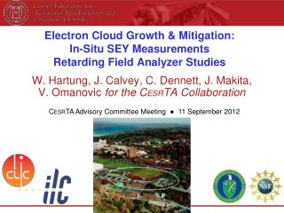 Electron Cloud Growth & Mitigation: In-Situ SEY Measurements Retarding Field Analyzer Studies