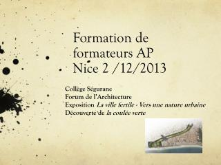 Formation de formateurs AP N ice 2 /12/2013