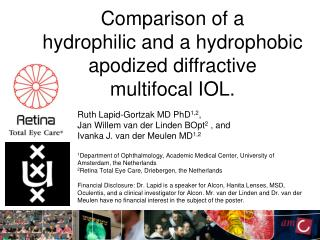 Ruth Lapid-Gortzak MD PhD 1,2 , Jan Willem van der Linden BOpt 2  , and