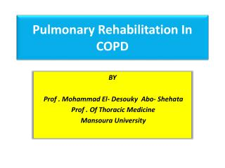 Pulmonary Rehabilitation In COPD