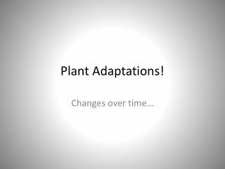 Plant Adaptations!