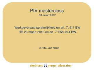 PIV  masterclass