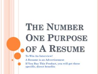 The Number One Purpose of A Resume