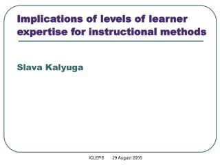 Implications of levels of learner expertise for instructional ...