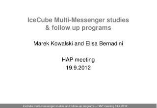 IceCube Multi-Messenger studies  &  follow up programs