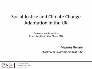 Magnus Benzie Stockholm Environment Institute