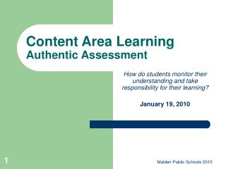 Content Area Learning Authentic Assessment