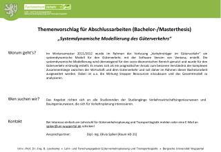 """""""Systemdynamische Modellierung des Güterverkehrs"""""""