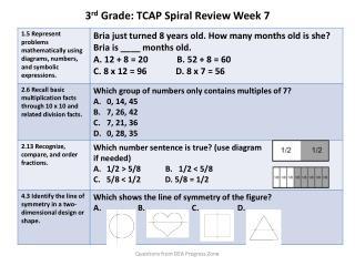 3 rd  Grade: TCAP Spiral Review  Week 7