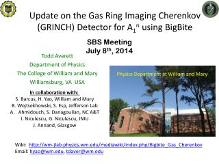 Update on the Gas Ring Imaging Cherenkov (GRINCH) Detector for A 1 n  using  BigBite