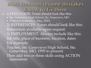 Most common resume mistakes & how to fix them: