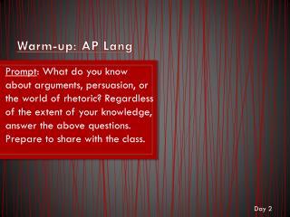 Warm-up: AP Lang