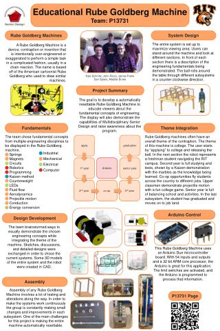 Educational Rube Goldberg Machine Team: P13731