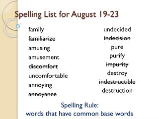 Spelling List for  August 19-23