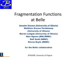 Fragmentation Functions  at Belle