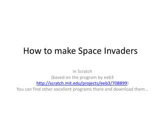 How to make Space Invaders