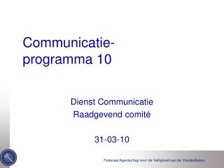Communicatie - programma  10