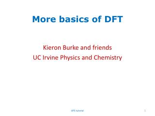 More basics of DFT
