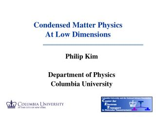 Condensed Matter Physics  At  Low Dimensions