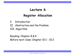 Lecture 6 Register Allocation