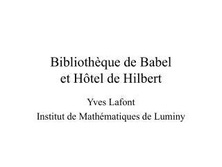 Biblioth que de Babel et H tel de Hilbert