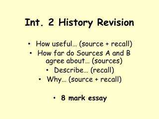 Int. 2 History Revision