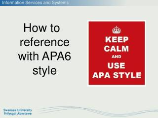 How to reference with APA6 style