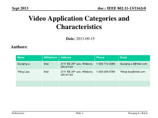 Video Application Categories and Characteristics